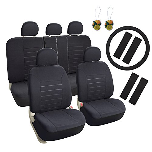 Heated Front Seats And Steering Wheel: Leader Accessories Black Car Seat Covers Full Set 17pcs