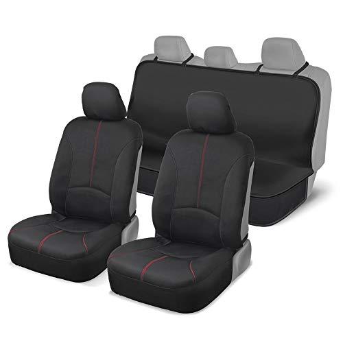 Synth Leather Seat Covers for Car//SUV//Van//Truck Black w// Red Mesh Premium Fabric