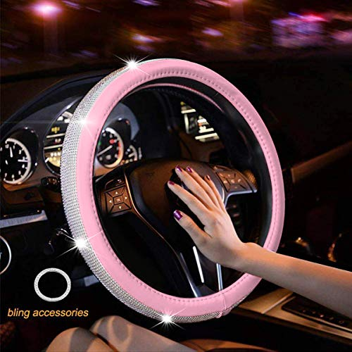 Lady. ZAKRA Steering Wheel Cover for Women White Dimonds/£ for Girls with Bling Bling Rhinestones Crystals,Universal 15 Inch