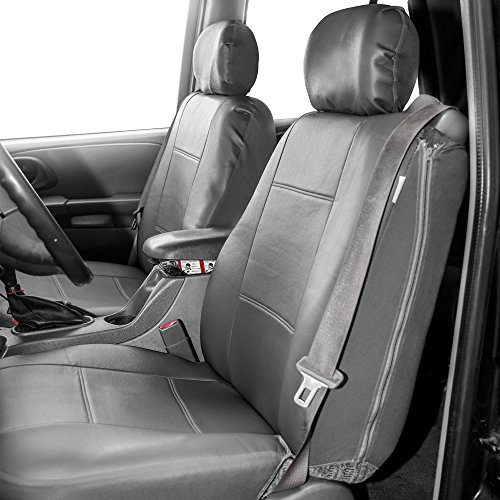 Trucks SUV Gray Black Color-Universal Fit for Cars Airbag Compatible TLH Premium PU Leather Seat Covers Full Set Auto